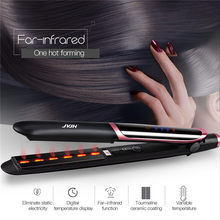 Profesyonel saç düzleştirici bigudi saç düzleştirici negatif iyon kızılötesi saç düzleştirici bukle makinesi oluklu LED ekran