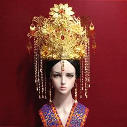 Ancient Chinese Bride Wedding Golden Red Hair Tiara Empress Princess Hair Crown Piece with Long Tassel Big Phoenix Palace TV
