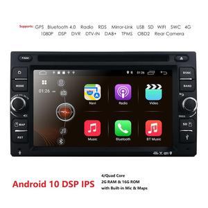 Image 1 - Z systemem Android 10 Radio samochodowe Ouad rdzeń 6.2 Cal 2DIN uniwersalny samochodowy odtwarzacz DVD GPS Stereo Audio jednostka główna 4GWIFI DAB DVR OBD2 SWC 2G + 16G