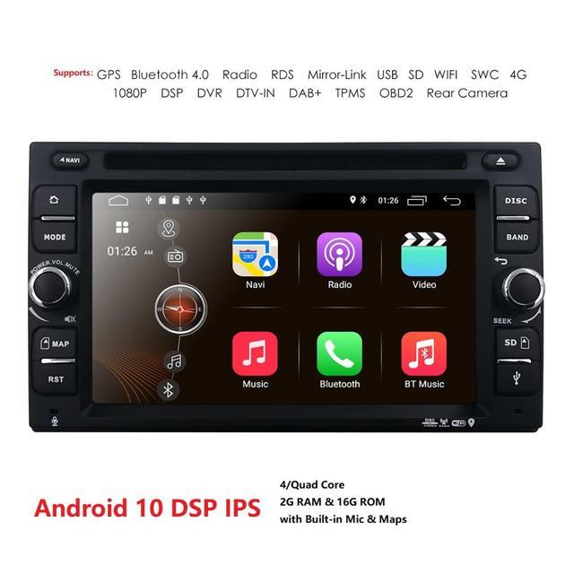 Z systemem Android 10 Radio samochodowe Ouad rdzeń 6.2 Cal 2DIN uniwersalny samochodowy odtwarzacz DVD GPS Stereo Audio jednostka główna 4GWIFI DAB DVR OBD2 SWC 2G + 16G