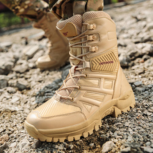 High Quality Brand Military Mens Boot Outdoor Leather Waterproof Desert Combat Ankle Special Force Tactical Steel Toe Shoes
