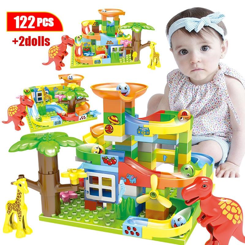 74-227Pcs Jurassic Dinosaur Diy Maze Balls Building Blocks Duploed Marble Track Slide Big Size Bricks Toys For Kids