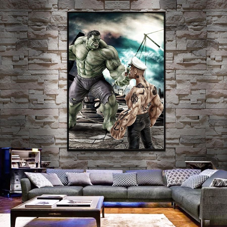Avengers Movie Hulk Superheros Poster Nordic Marvel Heros Kids Room Decor Wall Art Canvas Painting Cuadro posters tableau image
