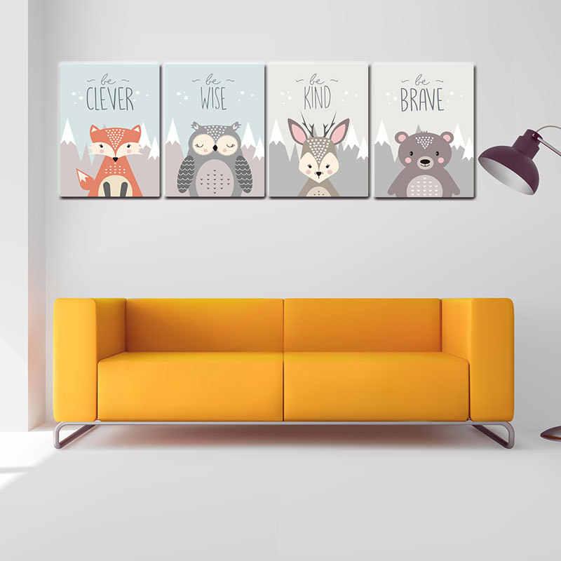 Nordic Art Animal Lion Fox Bear Minimalism Poster Painting Cartoon Nursery Wall Picture Print Baby Kids Room Decoration Brave