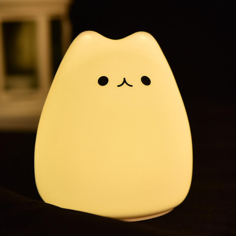 LED Colorful Allochroic Night Lamp Silica Gel Lamp Little Cat Patted Triple-a Battery Touch Cartoon Atmosphere Lamp