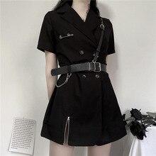Mini robe noire gothique pour femme, Sexy, taille haute, Harajuku, Punk, fermeture éclair, ceinture en cuir PU, collection 2020