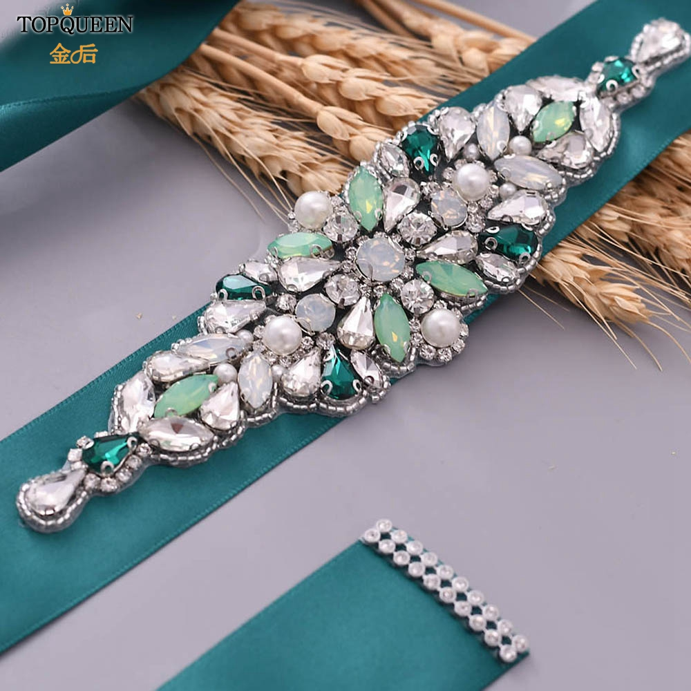 TOPQUEEN Colourful Rhinestone Wedding Belt Jewelry Belt Belts For Wedding Green Stone Gorgeous Wide Belts For Women  S443-4