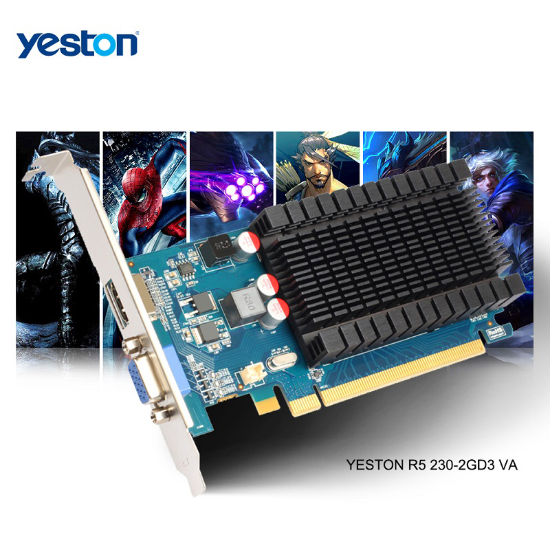 Yeston Radeon R5 230 GPU 2GB GDDR3 64 bit Gaming Desktop computer PC Video Graphics Cards support VGA/HDMI PCI-E X16 2.0 image