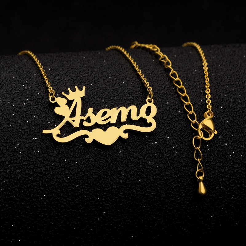 Customized Name Necklace Silver Gold Chain Stainless Steel Personalized Custom Heart Ribbon Crown Name Necklace Mom Jewelry Gift