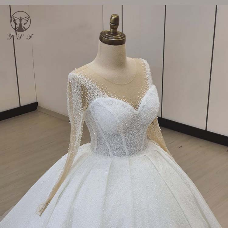 Vintage Vestidos De Novias O Neck Beaded Bling Bling Long Sleeve Ball Gown Puffy Wedding Dresses