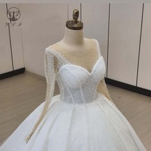 Vintage Vestidos De Novias O Neck Beaded Bling Bling Long Sleeve Ball Gown Puffy Wedding Dresses