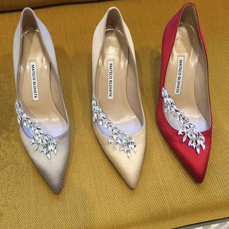 2019 New Fashion Wheat Ears Wedding Shoes Stiletto Pointed High Heels Show Wo Bride Red Wedding Party Shoes Women