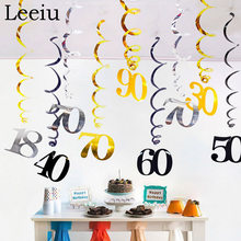 Leeiu 6 pçs spial 18 30 40 50 60th aniversário redemoinhos pendurado ornamentos feliz aniversário festa diy decorações cheers 30th aniversário