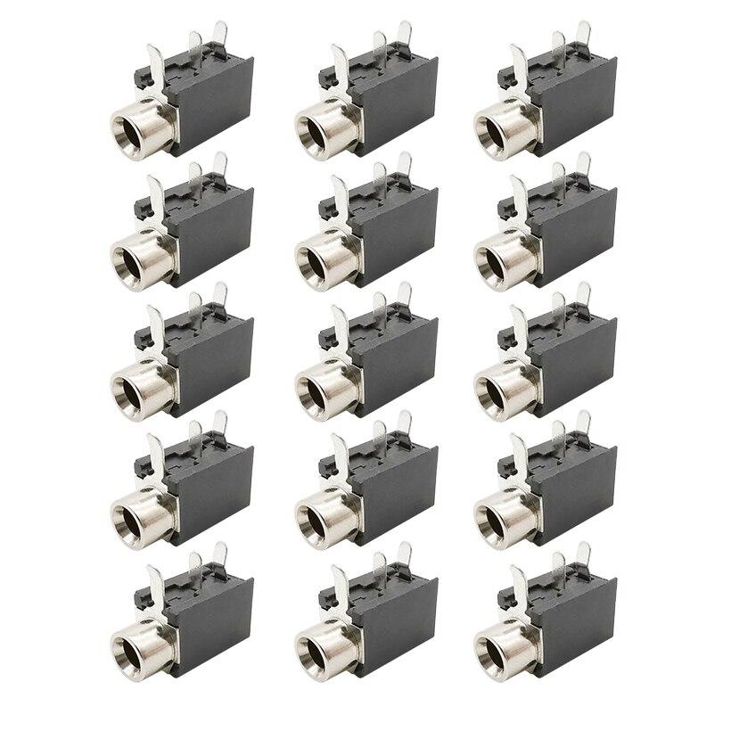 PCB Mount PJ-316 3.5mm Female Jack 3 Pin Socket Headphone Jack Audio Video Terminals Connector DIP-3 PJ316 3.5 Mm Black