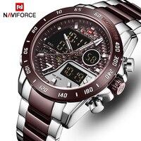 Naviforce Nieuwe Mannen Horloge Top Luxe Merk Mannen Waterdichte Sport Horloges Quartz Analoge Digitale Horloge Klok Relogio Masculino