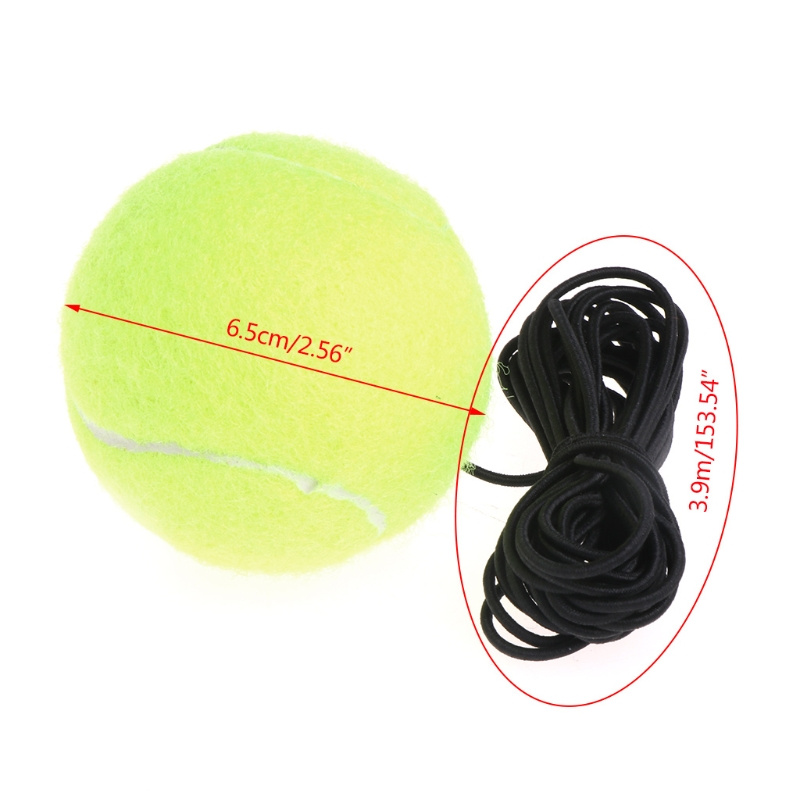 Green Resilience Tennis Balls Trainer Exercise Rubber Cord Elastic Band Rebound M7DC