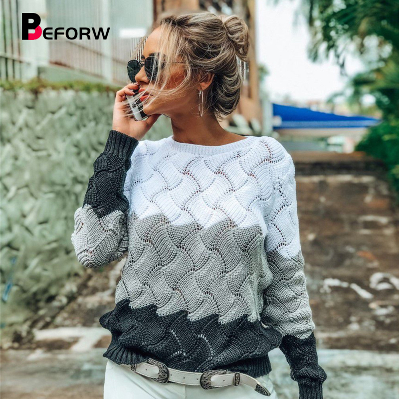 BEFORW Sweater Vintage Jumper Knitted Pullover Crewneck Long-Sleeve Winter Women Autumn