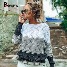 BEFORW 2019 mujeres invierno manga larga cuello redondo suéter tejido Vintage empalme Casual otoño mujeres suéteres blusas