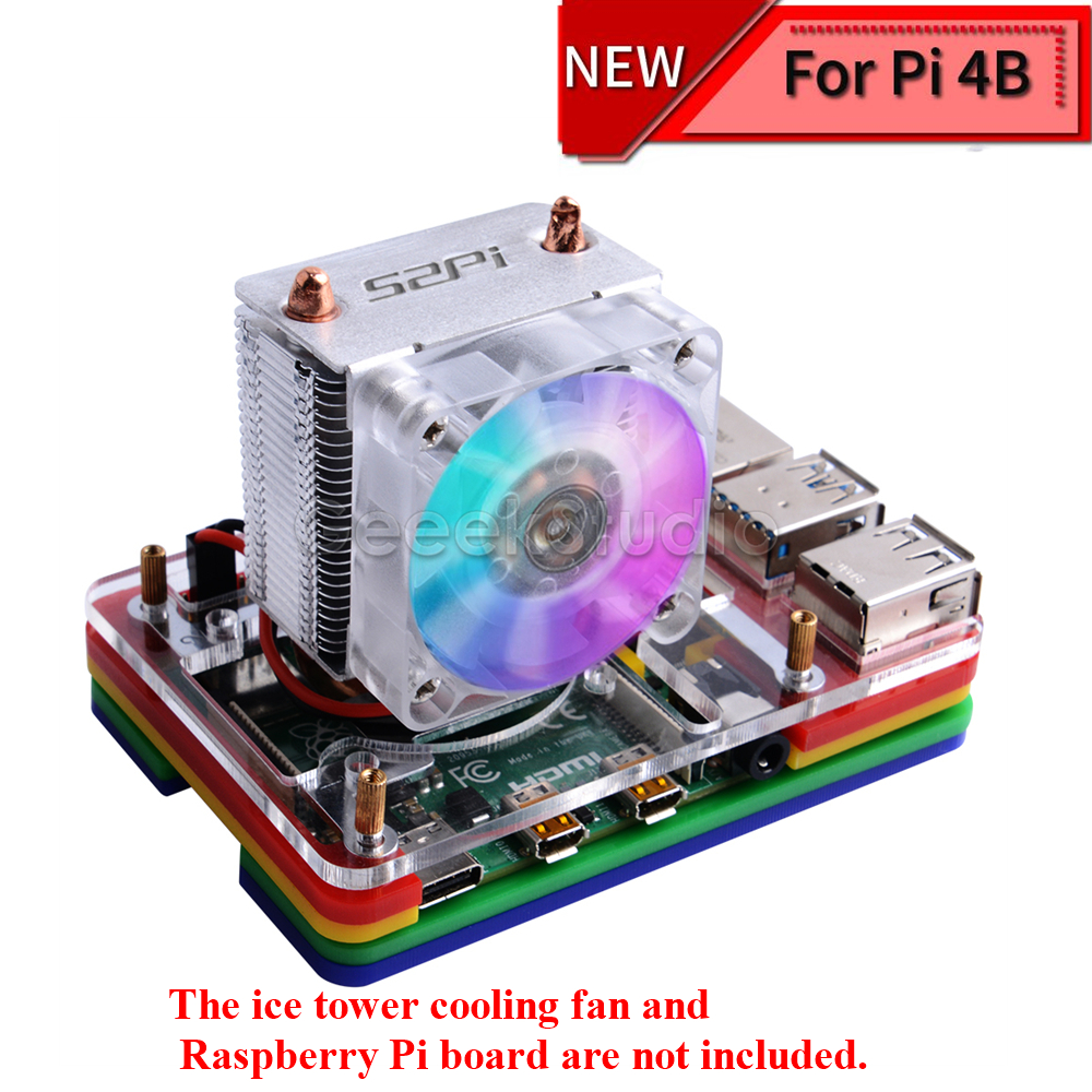 New! 5-layer Acrylic Transparent ( Clear & Black ) / Black / Colorful Case with Light Cooling Fan for Raspberry Pi 4B ICE Tower