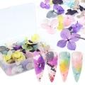 Большие лепестки для дизайна ногтей сушеные наклейки с цветами весенние градиентные сухие цветы наклейки Советы акварельные дизайнерские ...