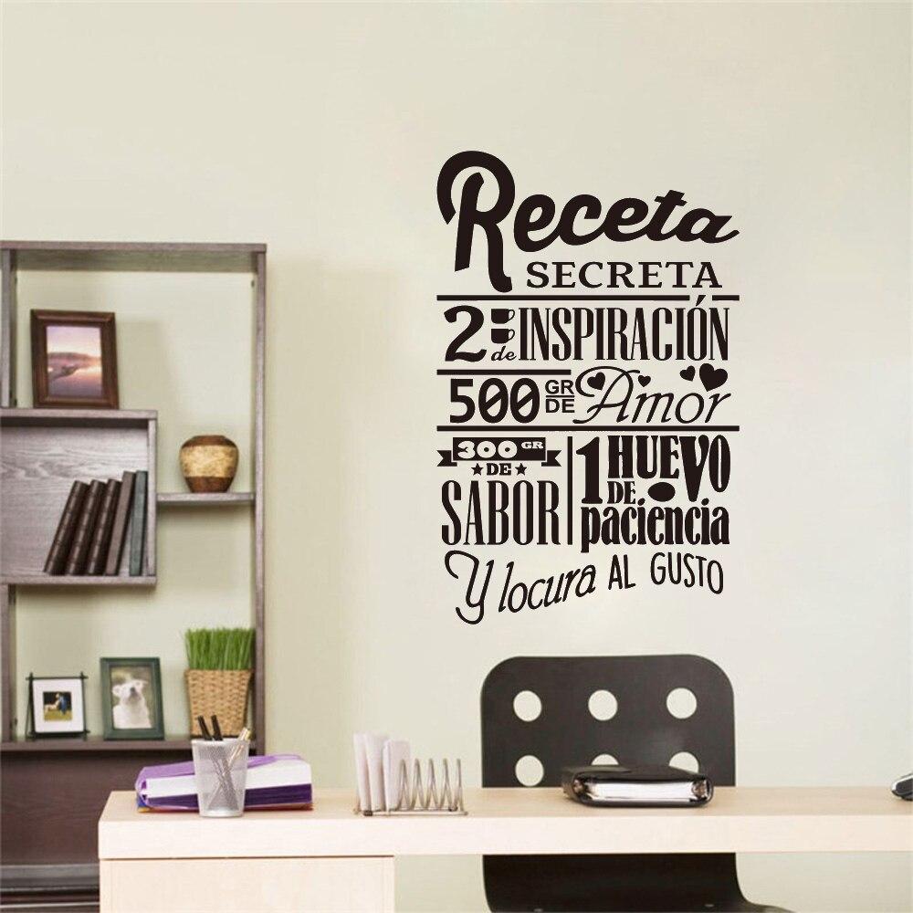 €19.19 19% de réductionAutocollant Mural vinyle cuisine  Recette espagnole  secrète, décoration murale, autocollant Mural pour la maison, affiche