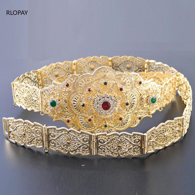 Image 4 - New Model Gold Waist Chain with Hollow Out Flower Belt Buckle  Arabic Royal Wedding Jewelry Belts Chic Kaftan BeltsBody Jewelry   -
