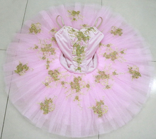Child light pink professional ballet tutu girls competition flower fairy pancake Doll performance costume