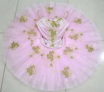 Child light pink professional ballet tutu girls competition flower fairy pancake Doll performance tutu costume fashion green and pink rainbow flower fairy costume for girls birthday cupcake layered dresses