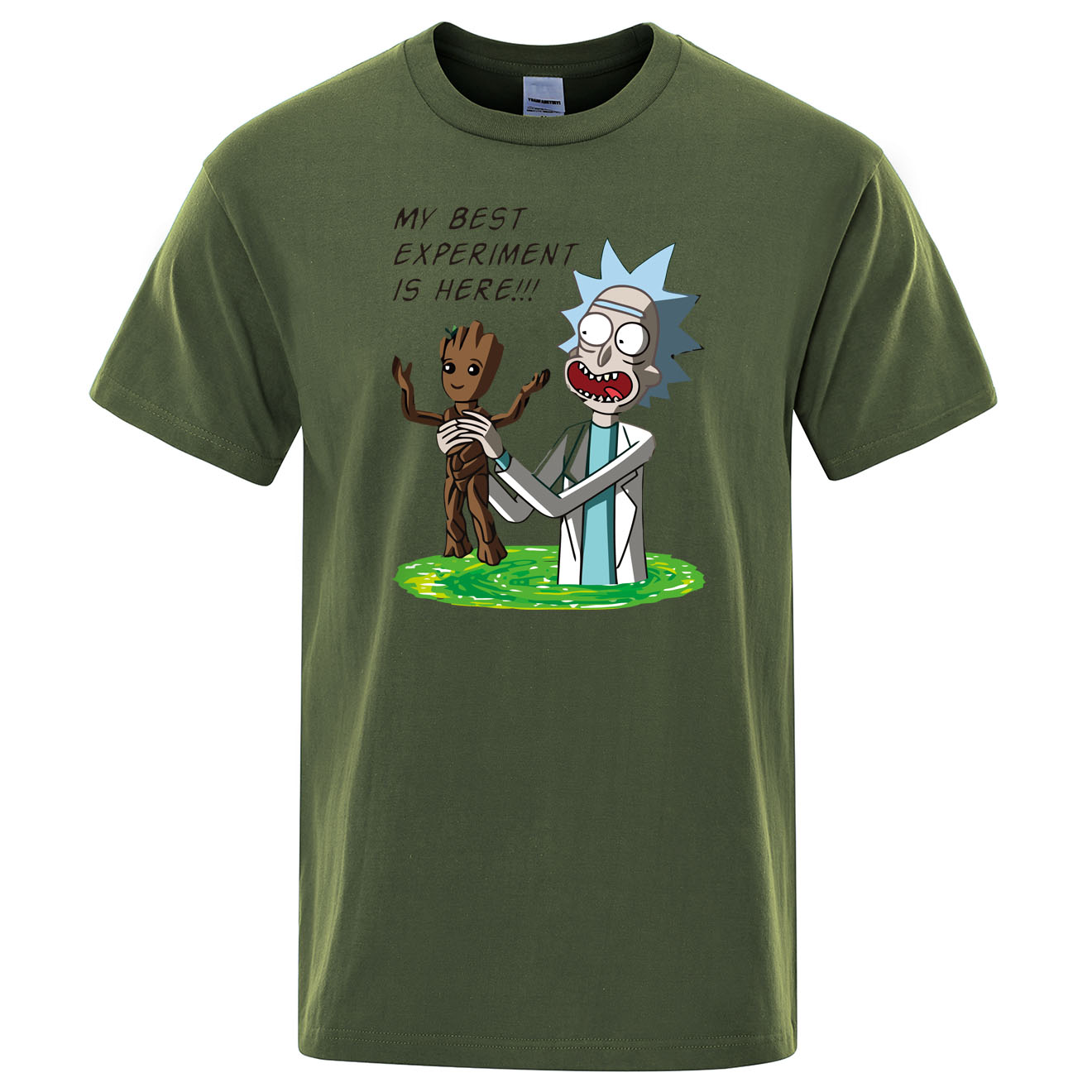 Men's High Quality T-shirt 100% Cotton Crewneck Loose Rick And Morty Printed Men Tshirt Casual Knitted Mens T-shirt Groot Tops