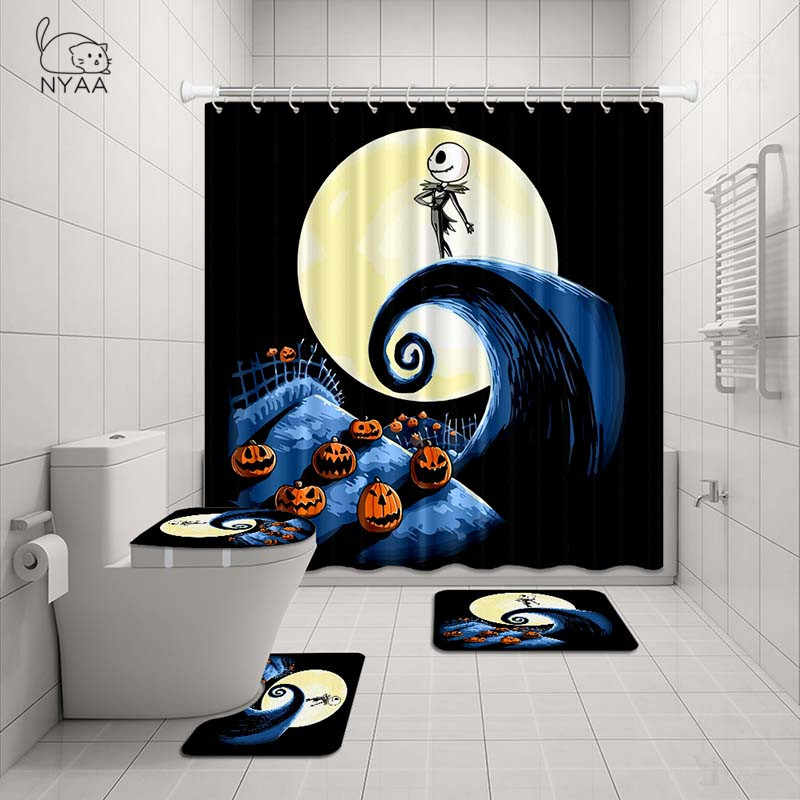 The Nightmare Before Christmas Bathroom Rugs Shower Curtain Toilet Lid Cover Mat