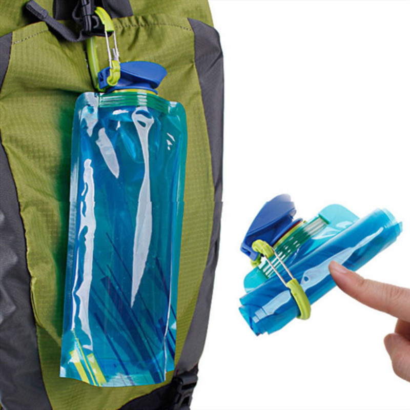 700ml Reusable Foldable Flexible Water Bottle Bag Outdoor Camping Hiking Tool Water Bottle Sports Portable Drinking Bottles