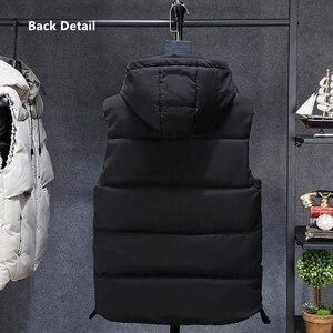 Image 4 - Inverno sem mangas jaqueta 2019 quente preto camuflagem chapéu com capuz casaco casual com capuz plus size 6xl 7xl 8xl estudantes magros blusão
