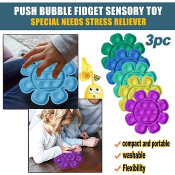 Nowy styl płatka wyciska muzykę aby zwolnić nacisk 3pc Push Bubble Fidget zabawka sensoryczna autyzm specjalne potrzeby Stress Reliever tanie i dobre opinie CN (pochodzenie) Flower-shaped pressing and making bubbles to relieve anxiety toys Chiny certyfikat (3C) none 8 ~ 13 Lat