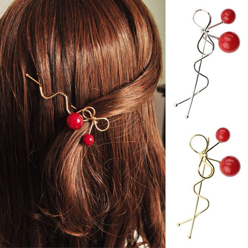 Sweet Fashion Design Women Girls Korean Red Cherry Shaped Bow Hairpin Elegant Twist Hair Clip Headdress Gifts Hair Ornaments Aliexpress Com Imall Com