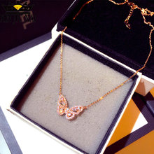 925 silver 18K Rose gold butterfly pendant necklace female fashion with light luxury clavicle chain diamond Great birthday gift(China)