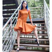 2020 novo vestido de dança latina das mulheres manga longa tango rumba salão moda moderna salsa cha dança latina saia