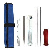 8 шт., набор для заточки бензопилы, напильника, набор инструментов, деревянная ручка+ круглая/Плоская направляющая для напильников, точилка для напильников, инструменты с сумкой