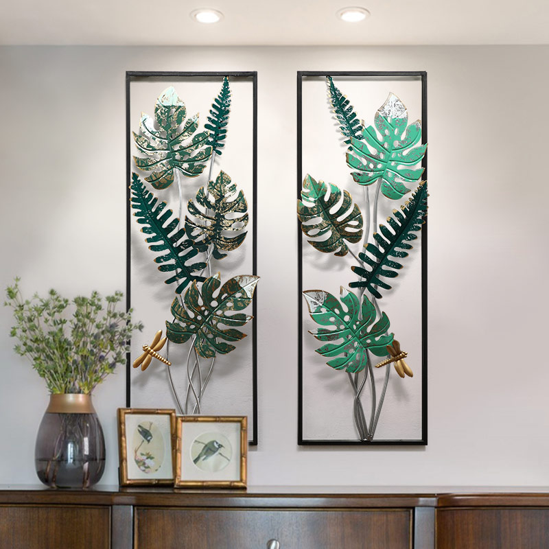 Американская трехмерная имитация зеленого растения Настенные вешалки креативная гостиная дома веранды, коридора украшение из кованого же...