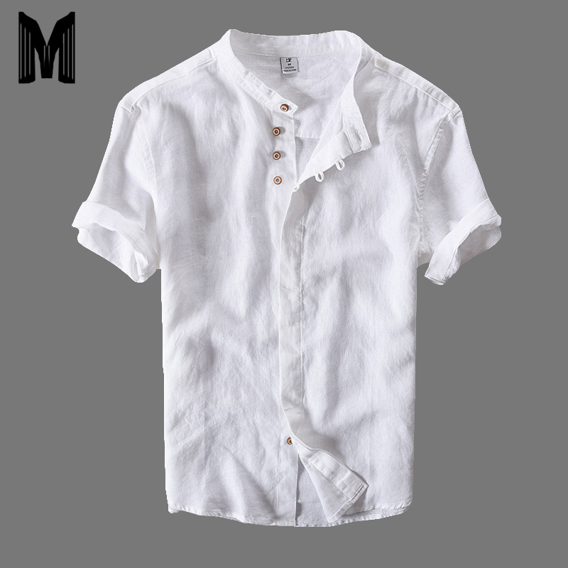 2020 Summer Short Sleeve Shirts Men Cotton Linen Slim Thin Section Casual Solid White Tops Plus Size M-4XL Y073