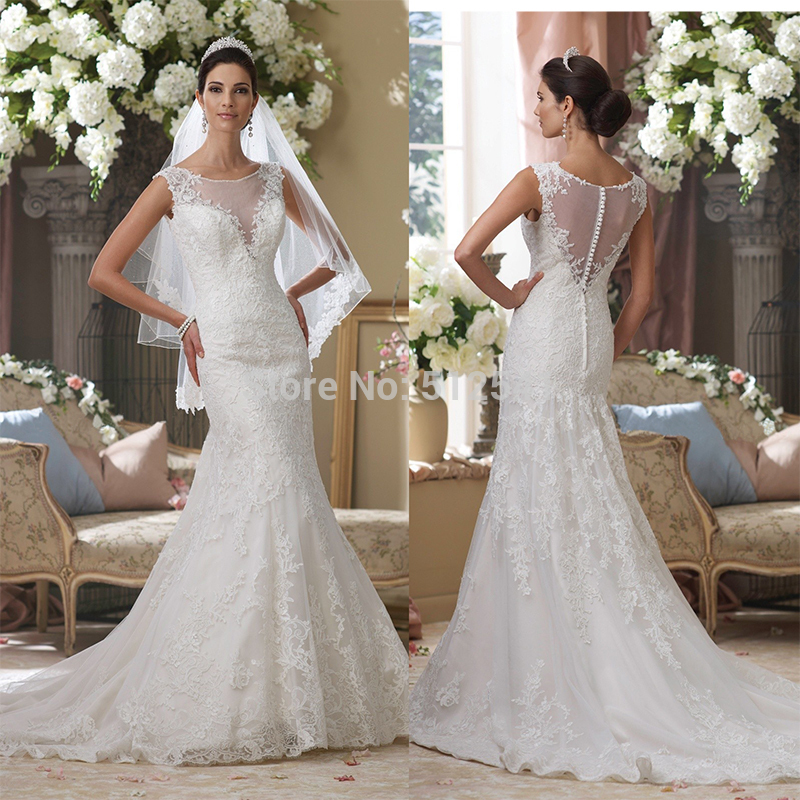 Fashion Vestido Sweetheart Trumpet Mermaid Sheer Free Shipping Wedding Dresses Applique Beads Lace Sweep Train 2018 Bridal Gowns