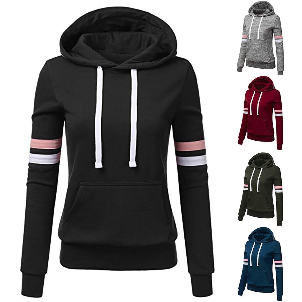 Women Stripe Sweatshirt Long Sleeve Blouse Hooded Pocket Pullover Tops Shirts Plus Size Solid Hoodies Winter Sweatshirts#50