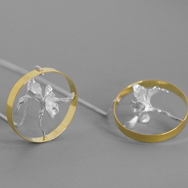 Iris Flower 925 Sterling Silver Big Circle Earrings4