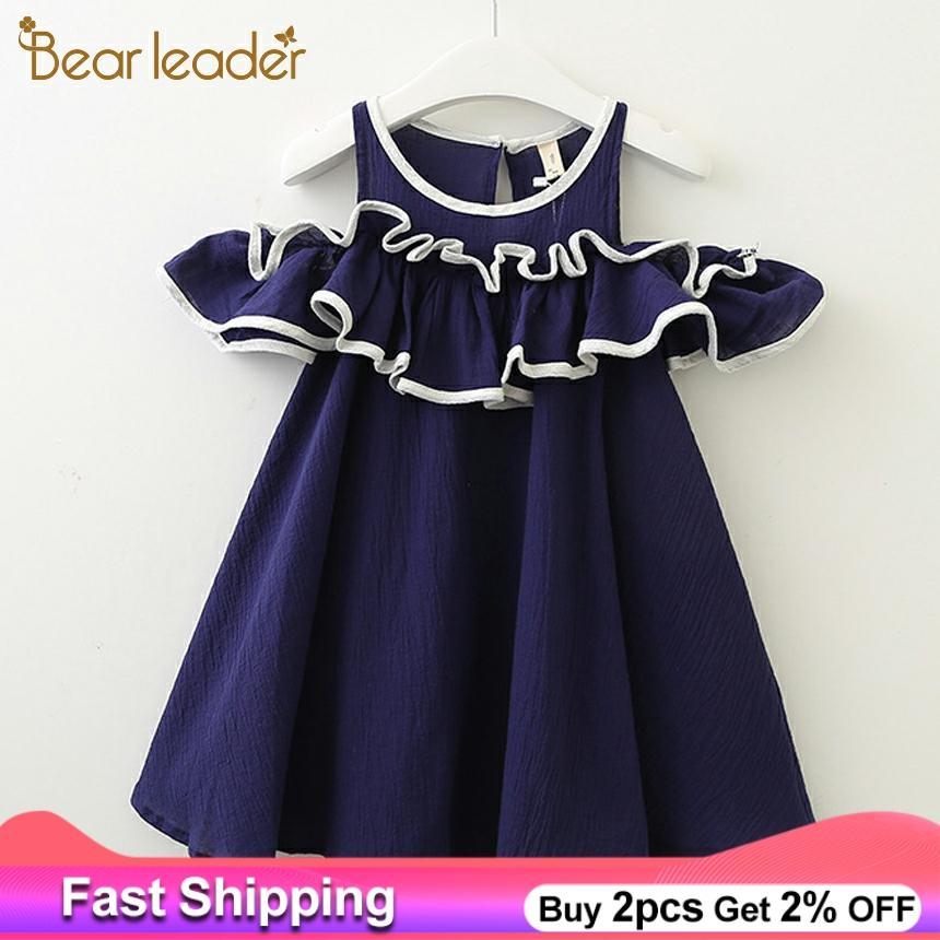 Bear Leader Girls Dresses 2020 Summer Girls' Denim Dress Bare-Shoulder Knots Short-Sleeve Cotton Summer Dresses For 3-7 Years