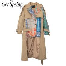 GetSpring Women Trench Coat Asymmetry Hem Long Print Coat Long Sleeve Single Breasted Women Windbreaker Woman Tops Autumn Winter