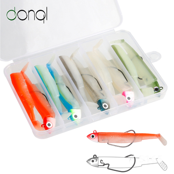 DONQL 5 Color Jig Head Soft Fishing Lure Set 10g/15g T Tail Silicone Baits with Worm Hook Wimbaits Fishing Tackle Pesca