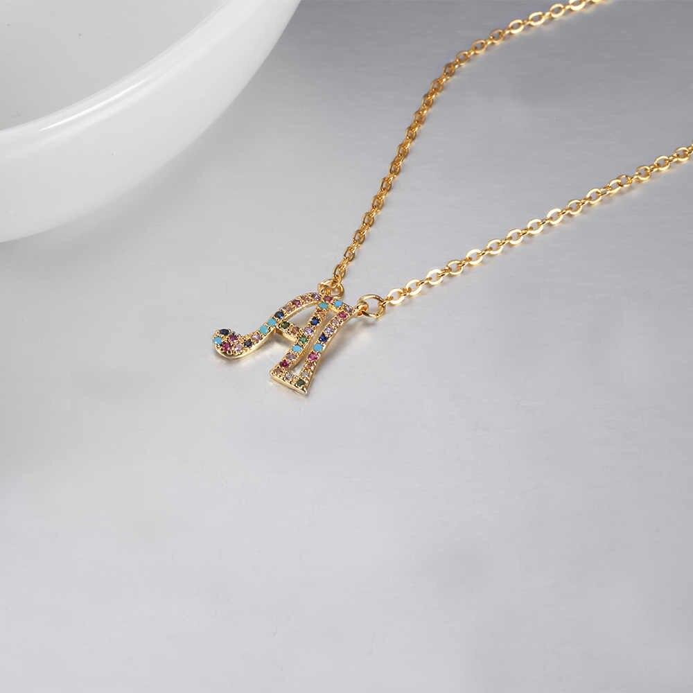 Mulher carta colar chegar corrente letra inicial feminina alfabeto nome colar pingente para feminino encantos jóias melhor presente