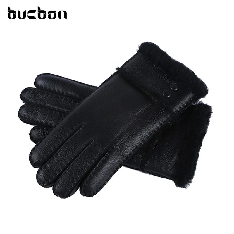 Hot Sale Winter Women Gloves Wool Genuine Leather Sheepskin Gloves Solid Sheep Fur Mittens Elegant Warm Female Gloves AGB483