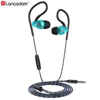 Langsdom Sp80B Anti-Fall Sports Earphone Sweatproof Ear phone with Microphone in-ear Wired Headphone Headset for Phone Mp3 3.5mm