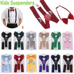 1PC Fashion Kids Suspenders With Bow Tie Set Boys Girls Solid Color Clip-on Adjustable Elastic Straps Wedding Ties Accessories