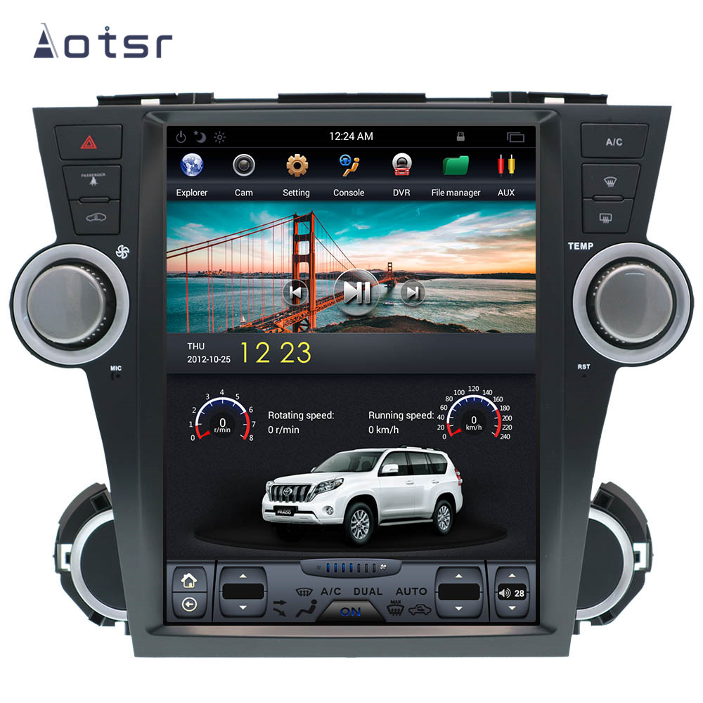 AOTSR Tesla Stil Android 9 PX6 Auto Player Fü<font><b>r</b></font> <font><b>Toyota</b></font> Highlander Kluger 2008-2014 Auto GPS Navigation DSP CarPlay autostereo image